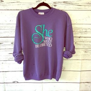 Vintage Purple Crewneck Typography Sweater